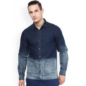Atorse Blue Ombre-Dyed Denim Slim Fit  Shirt