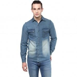 Atorse Blue Washed Denim Shirt