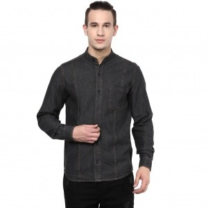 Atorse Black Cotton Solid Denim Shirt