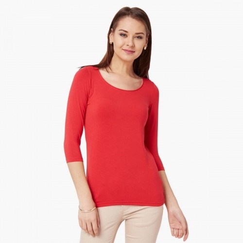ab840cdc051acb Buy CODE By Lifestyle Red Solid Round Neck Viscose Top online ...