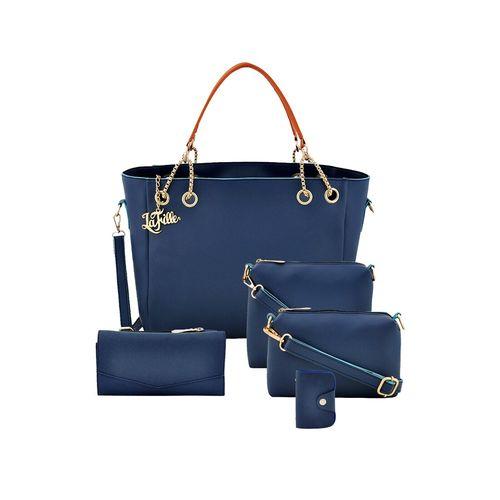LaFille blue leatherette (pu) handbag combo