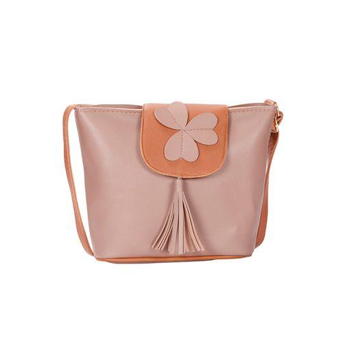 Bagkok pink leatherette (pu) regular sling bag