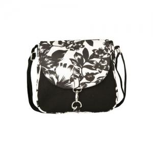Vivinkaa black floral printed canvas sling bag