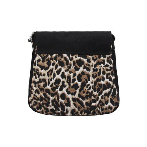 Vivinkaa black canvas animal print sling bag