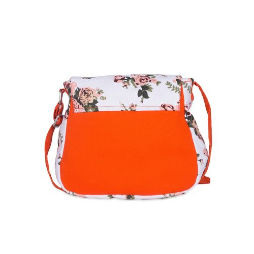 Vivinkaa orange floral printed canvas sling bag