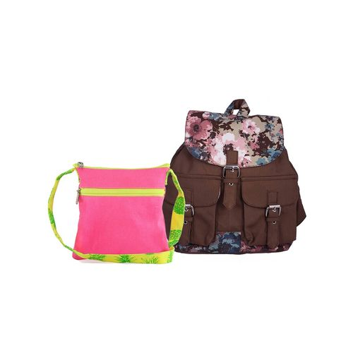 Vivinkaa multi colored canvas backpack and sling combo