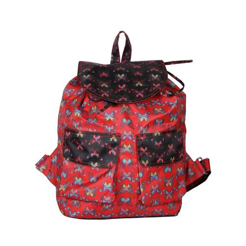 Vivinkaa red canvas printed backpack and sling combo