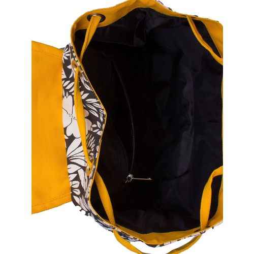 Vivinkaa black canvas floral printed backpack
