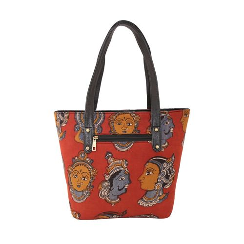Vivinkaa red cotton ethnic handbag