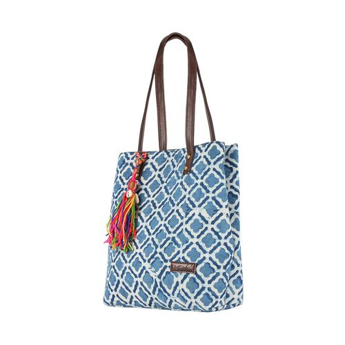 Vivinkaa blue cotton regular handbag