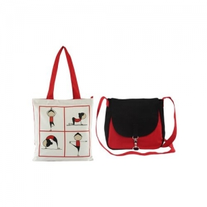 Vivinkaa multicolored printed canvas tote and sling bag combo
