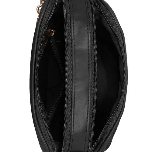 Kleio black leatherette regular sling bag