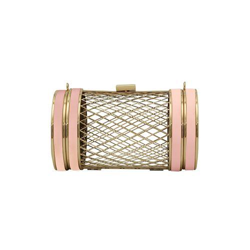 Kleio pink metal clutch