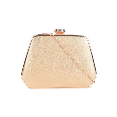 Kleio gold metal clutch