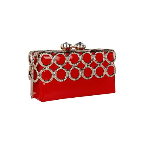 Kleio red metal clutch