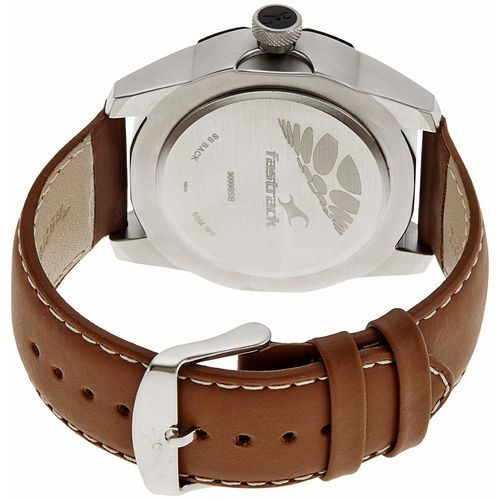 Fastrack Round Brown Leather Strap Casual Watch for Men
