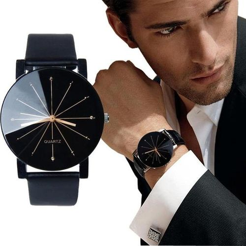 Skmei Black Round Dial Leather Strap Analog Casual Watch For Men