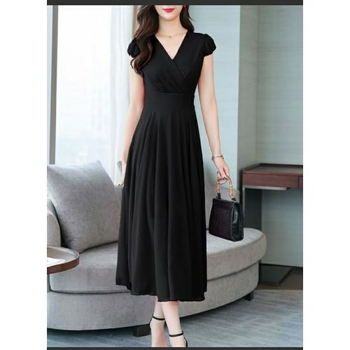 Westchic Black Cross Neck Long Dress