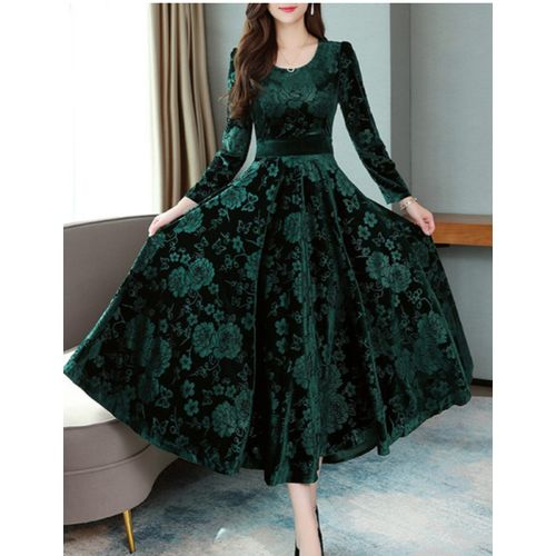 KF-GREEN PRINTED VELVET LONG DRESS