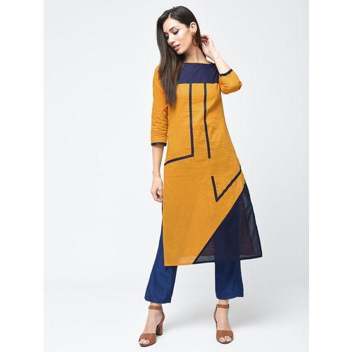 Aniyah color block straight kurta