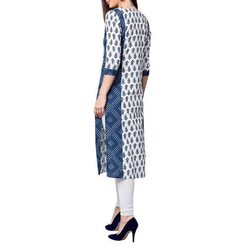 jaipurkurti blue cotton straight kurta