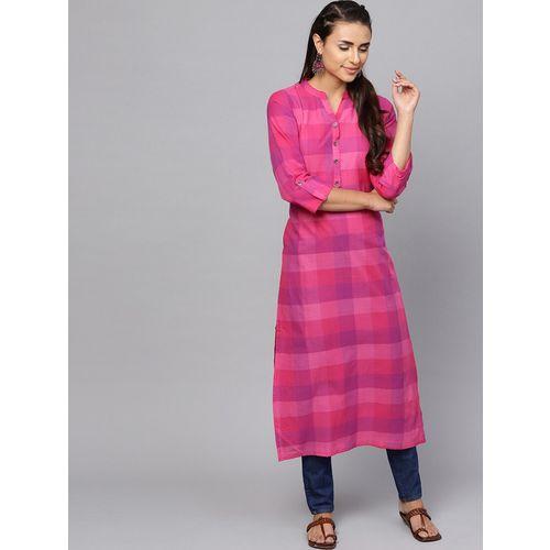 Indo Era checkered straight kurta