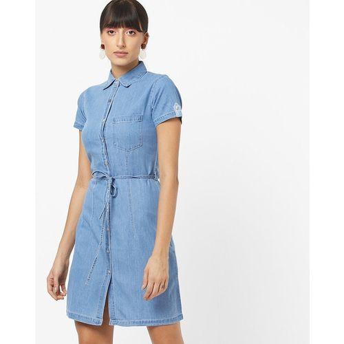 The Vanca Denim Shirt Dress with Waist Tie-Up