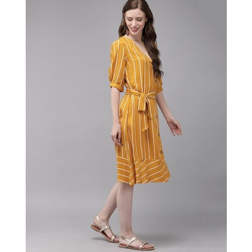 MIMOSA Striped A-line Dress with Tie-Up