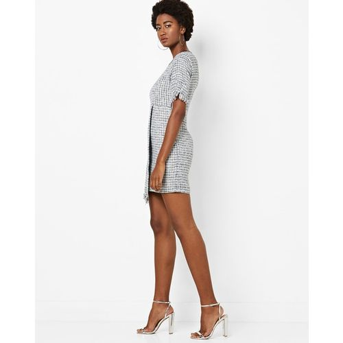 AJIO Textured Sheath Dress with Frayed Hems