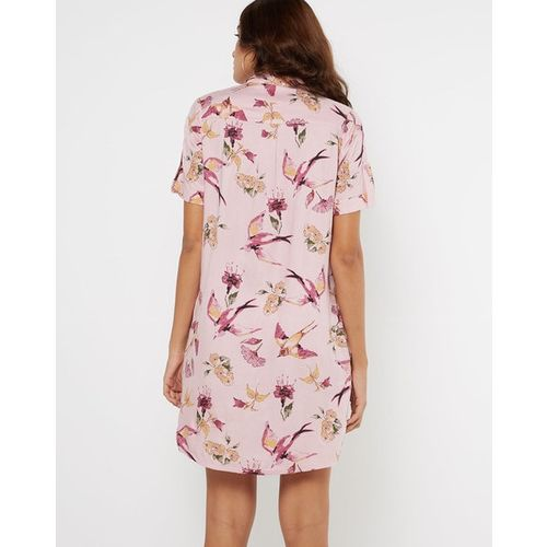 AJIO Printed Shirt Dress with Patch Pockets