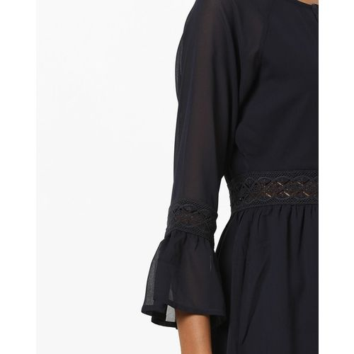 AJIO Ruffled Fit & Flare Dress with Lace Panels