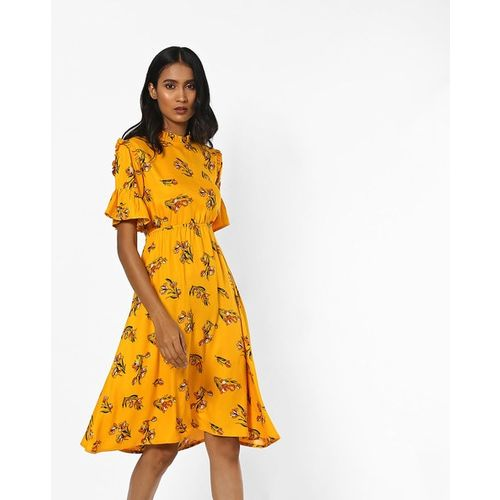 AJIO Floral Print Fit & Flare Dress with Ruffled Panels