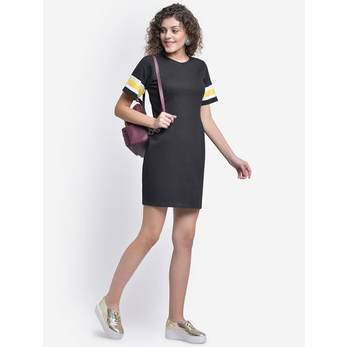 MARTINI contrast taped round neck shift dress