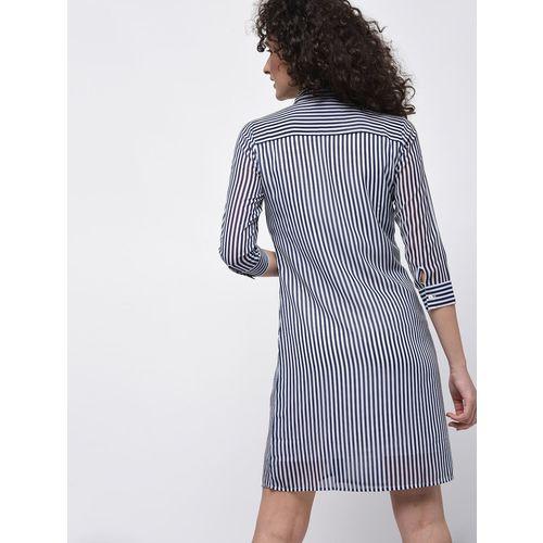 VERONIQUE three quarter sleeved striped shirt dress