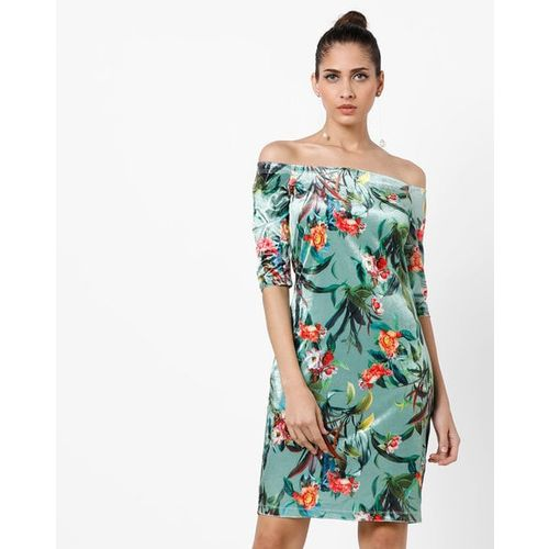 AJIO Floral Print Off-Shoulder Velvet Bodycon Dress