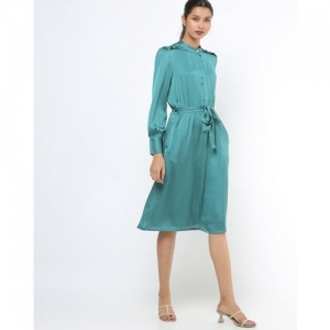 AJIO A-line Dress with Detachable Fabric Belt