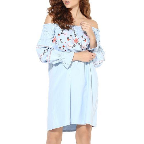 Heather Hues off shoulder frill detail embroidered dress