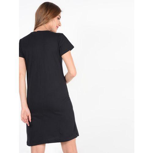 SOHO zipper detail striped pocket sheath dress