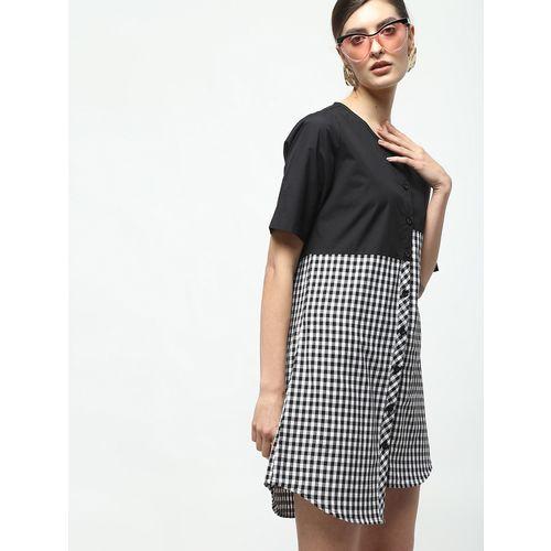 Inuka asymmetric checkered shirt dress