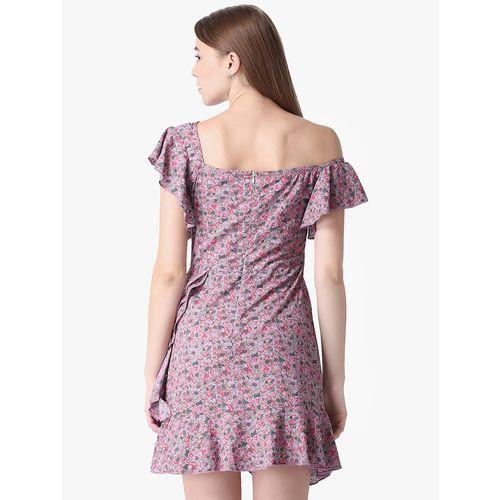 LA LOFT ruffle detail floral asymmetric dress