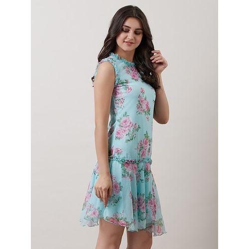 SBUYS frill detail floral asymmetric dress