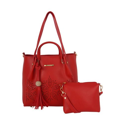 Lapis O Lupo red leatherette combo handbag