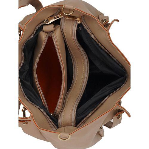 Lapis O Lupo brown leatherette combo handbag