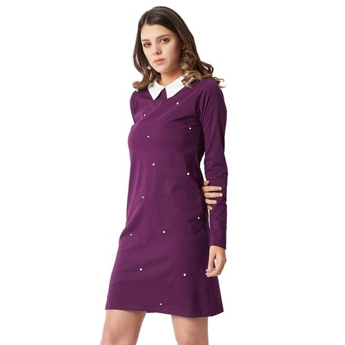 Miss Chase pearl embellished shift dress