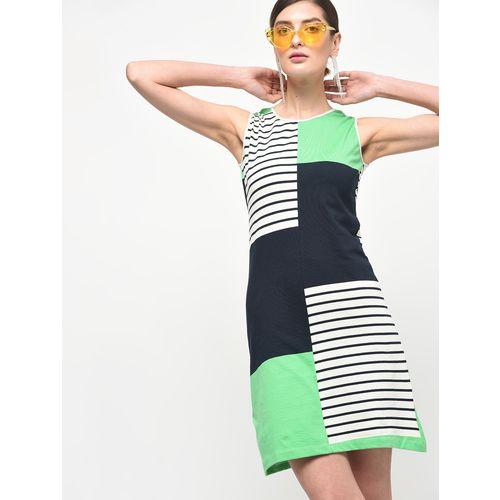 VERONIQUE color block round neck sheath dress