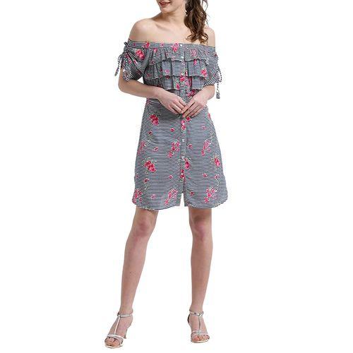 texco grey ruffled dress