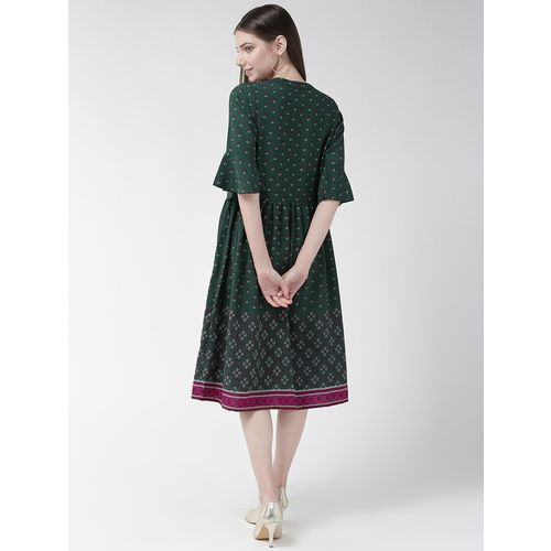 PLUSS bell sleeved gathered detail a-line dress