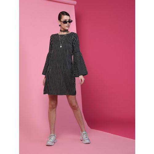 A K Fashion bell sleeved striped a-line dress