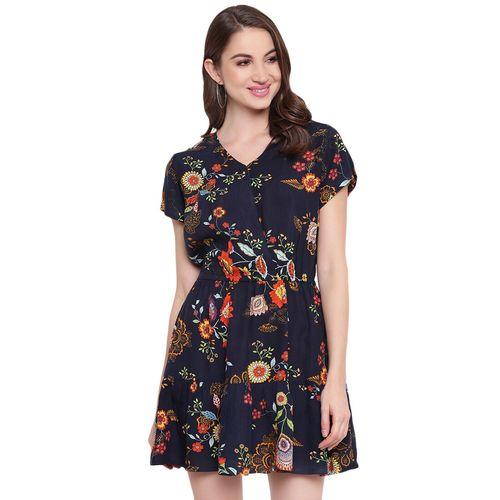 Mayra overlap neck floral flared dress