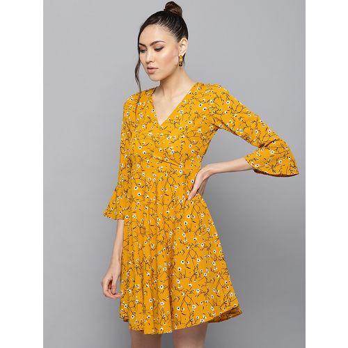 Trend Arrest bell sleeved floral a-line dress